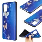 Embossment Pattern Printing TPU Phone Cover for Samsung Galaxy A51 – Blue Butterfly