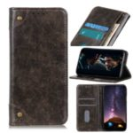 Auto-absorbed Leather Wallet Stand Casing for Samsung Galaxy A01 – Coffee