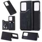 Imprinted Cat Tree Leather Coated TPU Back Case with Card Slot for Samsung Galaxy S20 Ultra – Black