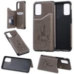 PU Leather Coated TPU Skeleton Imprinting Shell for Samsung Galaxy S20 Plus – Grey