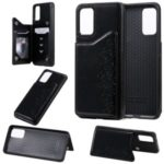 Imprint Six Cats Card Slots Kickstand Leather Coated TPU Mobile Cover for Samsung Galaxy S20 Plus – Black