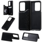 Imprint Six Cats Kickstand PU Leather Coated TPU Case Cover for Samsung Galaxy S20 Ultra – Black