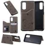For Samsung Galaxy S20 Imprint Cat and Bee Card Holder Leather Coated TPU Phone Shell – Grey