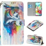 Light Spot Decor Patterned Leather Wallet Case for Samsung Galaxy A71 – Colorized Owl