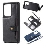 PU Leather Coated TPU Case Wallet Kickstand Case for Samsung Galaxy S20 Ultra – Black