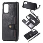 PU Leather Coated TPU Case Wallet Kickstand Case for Samsung Galaxy S20 Plus – Black