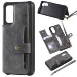 PU Leather Coated TPU Back Case Wallet Kickstand Case for Samsung Galaxy S20 – Grey