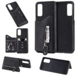 PU Leather Coated TPU Phone Stand Cover with Zipper Pocket Card Holder Shell for Samsung Galaxy S20 – Black