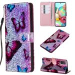Pattern Printing Glitter Sequins Leather Wallet Stand Case for Samsung Galaxy A71 – Butterfly