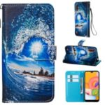Pattern Printing Leather Wallet Case for Samsung Galaxy A01 – Wave