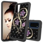 Rhinestone Decor Pattern Printing Hybrid PC TPU Shockproof Case for Samsung Galaxy S20 – Purple Flowers