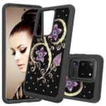 Rhinestone Decor Pattern Printing Hybrid PC TPU Shockproof Shell for Samsung Galaxy S20 Ultra – Purple Flowers
