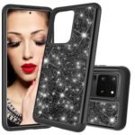 Glitter Powder Hybrid PC TPU Shockproof Protective Case for Samsung Galaxy S20 Ultra – Black