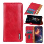 Bison Skin Texture Leather Stand Phone Cover Case for Samsung Galaxy A51 – Red