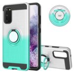 For Gradient Color 360 Degree Ring Kickstand Shell for Samsung Galaxy S20 – White/Cyan