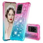 Gradient Glitter Powder Quicksand TPU Case for Samsung Galaxy S20 Ultra – Rose / Baby Blue