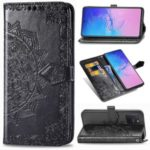 Embossed Mandala Flower Wallet Leather Stand Phone Protection Cover for Samsung Galaxy A91/S10 Lite – Black