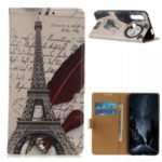 Pattern Printing PU Leather Cover Wallet Stand Phone Case for Samsung Galaxy A70e – Tower and Letters