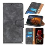 Vintage Style Split Leather Wallet Protector Phone Cover for Samsung Galaxy A41 – Grey