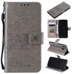 Imprinted Flower Owl Leather Phone Protective Case for Samsung Galaxy A70e – Grey