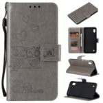 Imprint Owls Pattern Wallet Stand Leather Case Protective Cover for Samsung Galaxy A01 – Grey