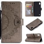 Imprint Flower Leather Wallet Phone Cover for Samsung Galaxy A01 – Grey
