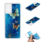 Glitter Sequins Inlaid Pattern Painting Soft TPU Case for Samsung Galaxy S20 Plus – Blue Butterflies