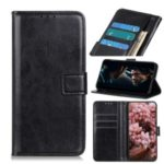 Crazy Horse Skin Wallet Stand Magnetic Leather Covering for Samsung Galaxy A11 – Black