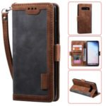 Vintage Splicing Style Wallet Stand Leather Phone Shell for Samsung Galaxy S10 – Grey
