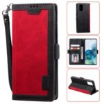 Vintage Splicing Leather Phone Shell with Wallet Stand for Samsung Galaxy S20 – Red