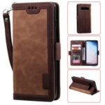 Retro Splicing Leather Wallet Phone Case for Samsung Galaxy S10 Plus – Brown