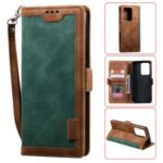 Vintage Splicing Style Wallet Stand Flip Leather Case for Samsung Galaxy S20 Ultra – Green
