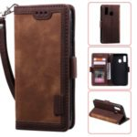 Vintage Splicing Style Wallet Stand Leather Flip Phone Shell for Samsung Galaxy A20e  – Brown