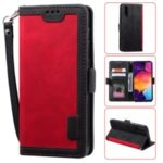 Vintage Splicing Style Wallet Stand Leather Flip Phone Cover for Samsung Galaxy A70  – Red