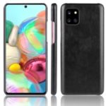 Litchi Texture Leather Coated Hard Plastic Protective Case for Samsung Galaxy A81/Note 10 Lite/M60S – Black