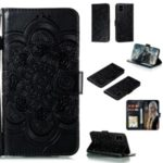 Imprint Malanda Flower Wallet Stand PU Leather Protective Case with Strap for Samsung Galaxy A81/Note 10 Lite/M60s – Black