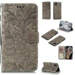 Lace Flower Imprinted Leather Phone Case for Samsung Galaxy A81/M60s/Note 10 Lite – Brown