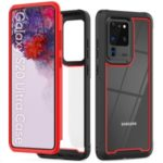 Stylish TPU Bumper + PC Frame + Acrylic Back Hybrid Cover Shell for Samsung Galaxy S20 Ultra – Red