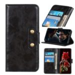 Double Brass Buttons Crazy Horse Skin Wallet Leather Phone Casing for Sony Xperia 1 II – Black
