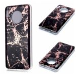 Marble Pattern Rose Gold Electroplating IMD TPU Cover for Huawei Mate 30 Pro – Black