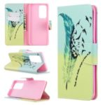 Pattern Printing Leather Wallet Case for Huawei P40 Pro – Feather Pattern
