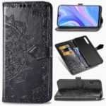 Embossed Mandala Flower Wallet Leather Flip Casing for Huawei Enjoy 10s – Black
