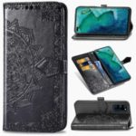 Embossed Mandala Flower Wallet Leather Protective Cover with Stand for Huawei Honor View 30/View 30 Pro/V30/V30 Pro – Black