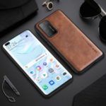 X-LEVEL Vintage Style PU Leather Coated TPU Combo Mobile Phone Cover for Huawei P40 Pro – Brown