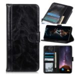 Crazy Horse Wallet Leather Flip Protector Cell Phone Cover for Huawei P40 Pro – Black