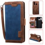 Vintage Splicing Design Wallet Stand Leather Phone Case Shell for Huawei Y7 (2019) – Blue