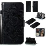 Imprint Mandala Flower Leather Wallet Case for Huawei P40 Pro – Black