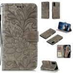 Imprint Lace Flower Leather Wallet Case for Huawei P40 – Grey