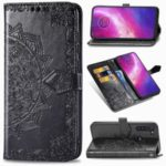 Embossed Mandala Flower Wallet Leather Protective Shell Case for Motorola Moto G8 Power – Black