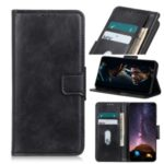 Crazy Horse Texture Leather Mobile Case with Wallet Stand for Motorola Moto E7 – Black